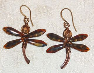 Brown dragonfly earrings