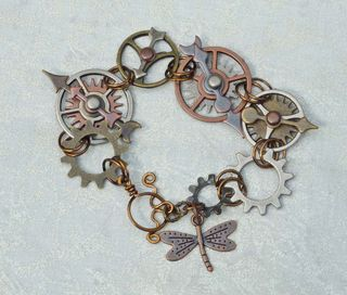 Steampunk bracelet with dragonfly4