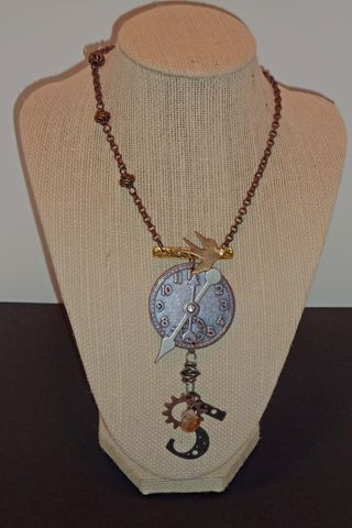 Steampunk pendant with citrine