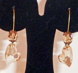 Champagne crystal heart earrings3