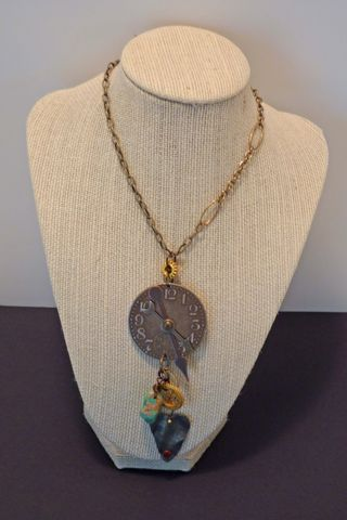 Steampunk pendant with turquois